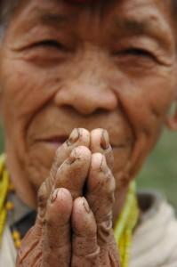 India, March 2008 folded hands for prayer - (praying hands) Project trip of Marie-Ange Siebrecht and Mark von Riedemann